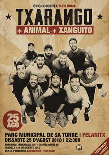ÚNIC CONERT TXARANGO A MALLORCA FESTES SANT AGUSTÍ 2018, FELANITX + ANIMAL + XANGUITO