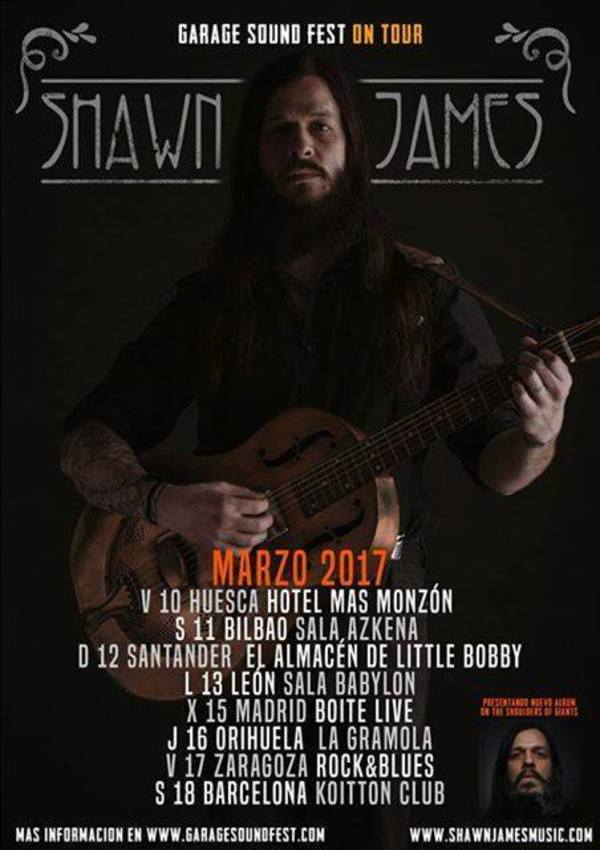 Shawn James en Barcelona en marzo ShawnJAmes